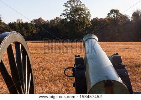 Large Cannon sitting in Civil War Battlefield