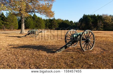 Large Cannons sitting in Civil War Battlefield