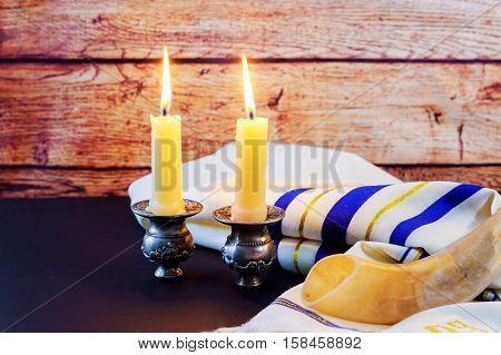 Jewish Holiday Sabbath Prayer Shawl Tallit And Shofar Horn Jewish Religious Symbol