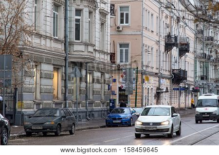 RUSSIA MOSCOW - NOVEMBER 08 2016: Roadway of Chistoprudny Boulevard in Moscow with old historical buildings. Chistoprudny Boulevard (Clear Ponds) is a major boulevard in the central part of Moscow.