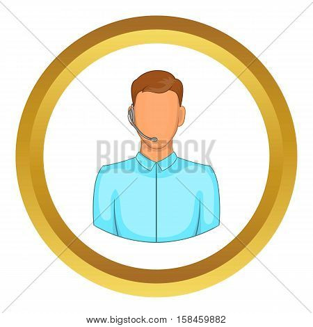 Customer service operator in headset vector icon in golden circle, cartoon style isolated on white background