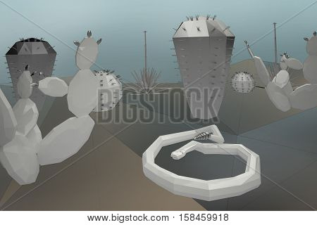 3D low poly desert, ceramic and metal