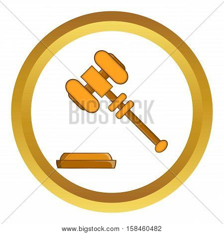 Judge gavel vector icon in golden circle, cartoon style isolated on white background