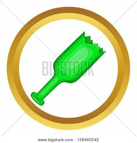 Broken green bottle as weapon vector icon in golden circle, cartoon style isolated on white background