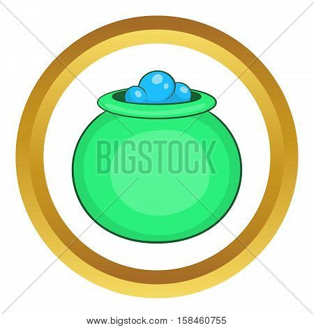 Green witch cauldron with potion vector icon in golden circle, cartoon style isolated on white background