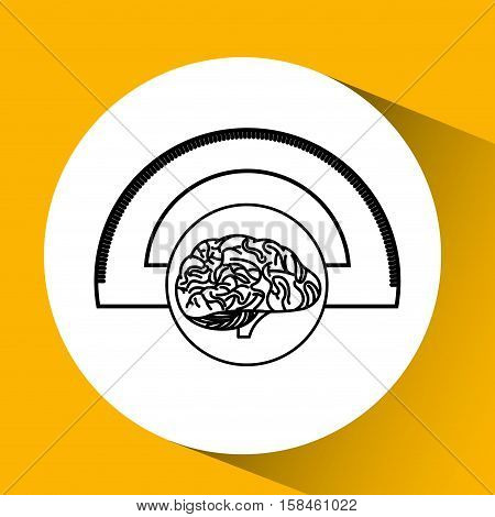 protractor brain school knowledge vector illustration eps 10