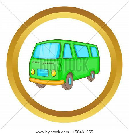 Classic van, retro style vector icon in golden circle, cartoon style isolated on white background