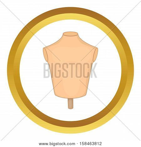 Mannequin or dressmakers dummy vector icon in golden circle, cartoon style isolated on white background