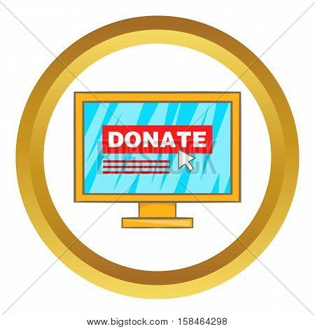 Donate online concept vector icon in golden circle, cartoon style isolated on white background