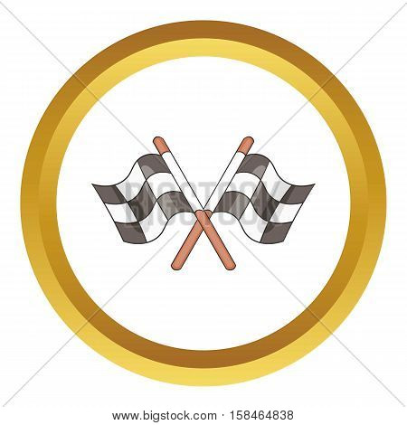 Racing flags vector icon in golden circle, cartoon style isolated on white background