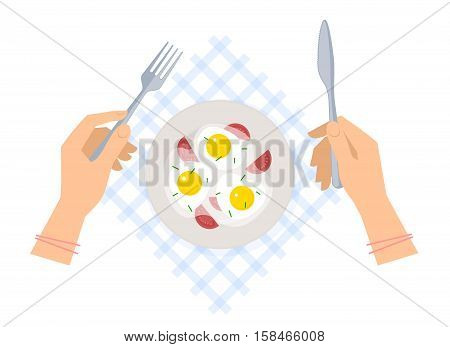 Breakfast: female hands with steel fork and knife ceramic plate with scrambled eggs on a table napkin. Flat vector concept illustration of kitchen utensils and food isolated on a white background.