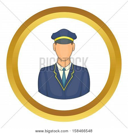 Driver of train vector icon in golden circle, cartoon style isolated on white background