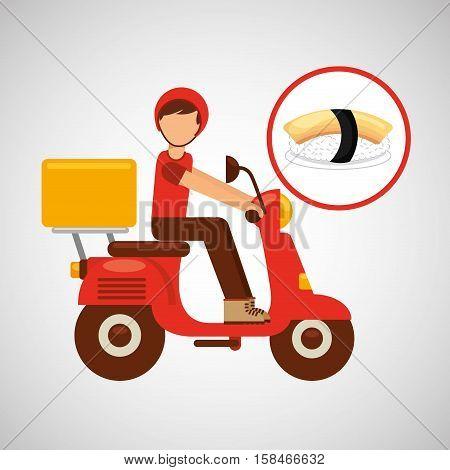 delivery boy ride motorcycle nigiri sushi vector illustration eps 10