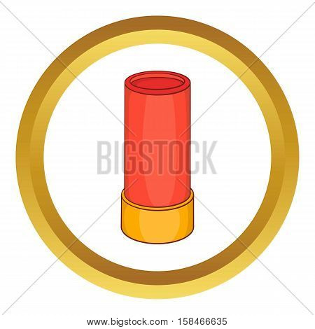 Shotgun shell vector icon in golden circle, cartoon style isolated on white background