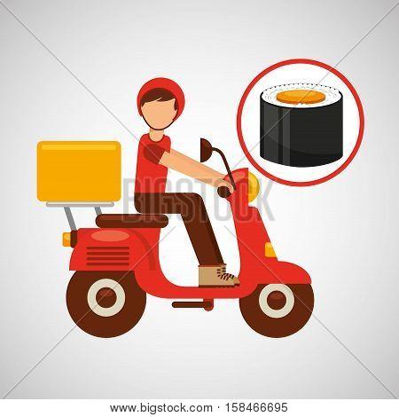 delivery boy ride motorcycle maki sushi vector illustration eps 10