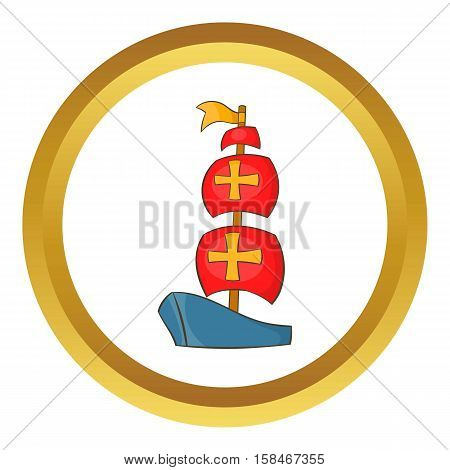 Columbus ship vector icon in golden circle, cartoon style isolated on white background