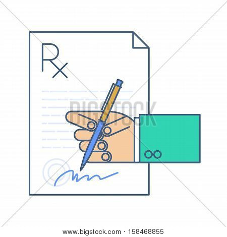Doctor signing a rx prescription document. Concept line illustration of medic's hand prescription blank writing pen signature. Vector medical and heaith infographic element for web presentation.