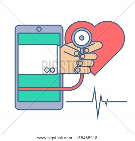 Heart pulse examination by phone. Telemedicine and telehealth flat line concept illustration. Doctor from phone holding a stethoscope in his hand. Vector tele health and online medicine element.