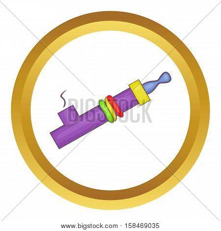 Marijuana e-cigarette vector icon in golden circle, cartoon style isolated on white background