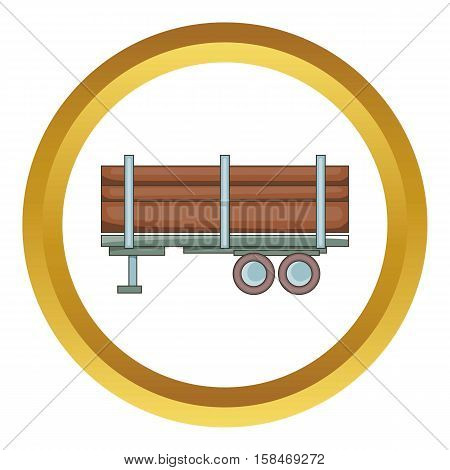 Logging truck vector icon in golden circle, cartoon style isolated on white background