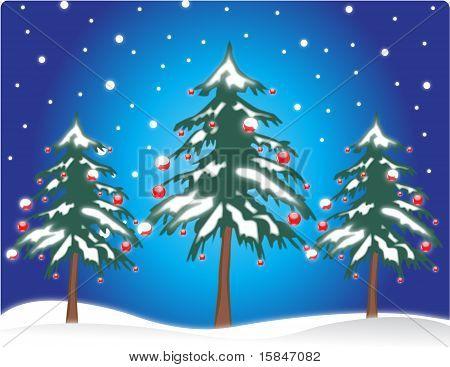 Three Snowing Christmas Trees