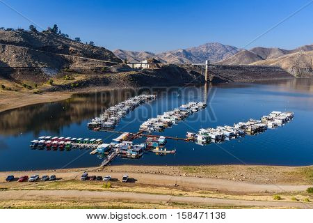 Marina On Lake With Low Water Level In California