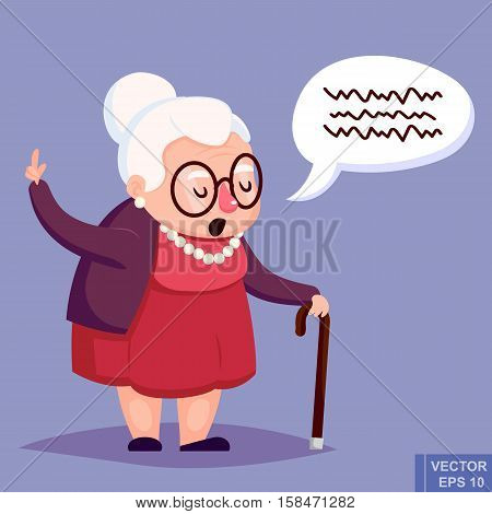 Old Woman With Cane. Senior Lady Glasses Talking Warning Her Finger Up. Vector Illustration.