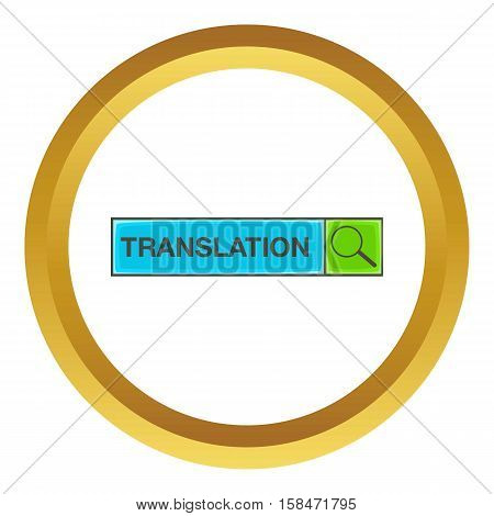 Search translation vector icon in golden circle, cartoon style isolated on white background