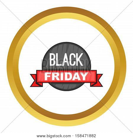 Black Friday sale vector icon in golden circle, cartoon style isolated on white background