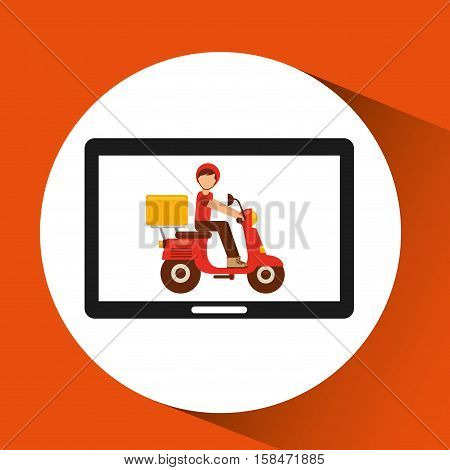 hand hold delivery food boy on scooter vector illustration eps 10