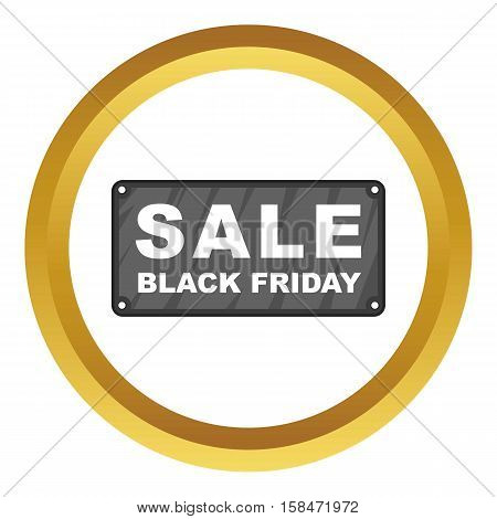 Black Friday plate vector icon in golden circle, cartoon style isolated on white background