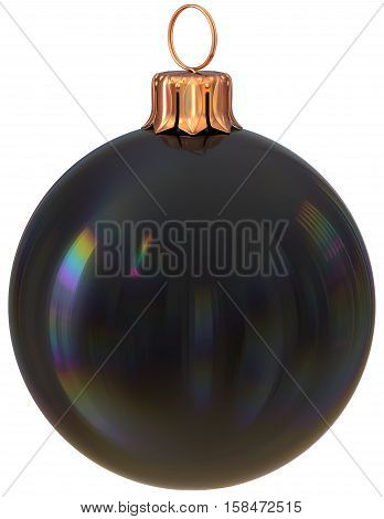 Christmas ball New Year's Eve bauble black decoration shiny wintertime hanging adornment sphere souvenir. Traditional ornament happy winter holidays Merry Xmas symbol closeup. 3d illustration isolated