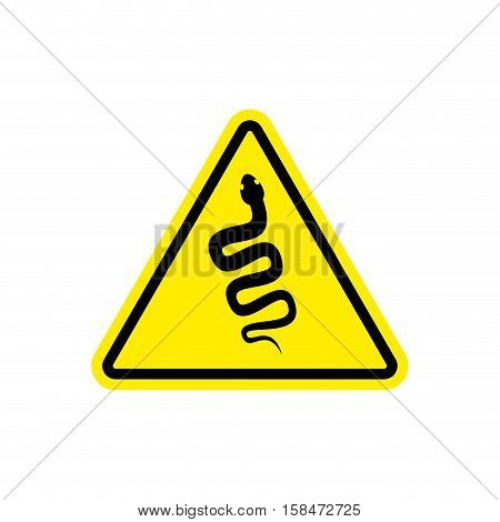 Snake Warning Sign Yellow. Venomous Serpent Hazard Attention Symbol. Danger Road Sign Triangle Repti