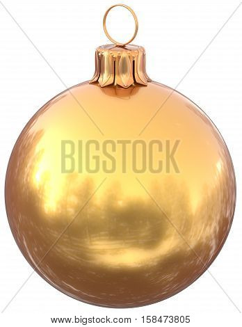 Golden Christmas ball New Years Eve bauble yellow decoration shiny wintertime hanging adornment gold souvenir. Traditional ornament happy winter holidays Merry Xmas symbol. 3d illustration isolated