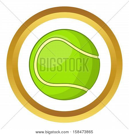 Tennis ball vector icon in golden circle, cartoon style isolated on white background