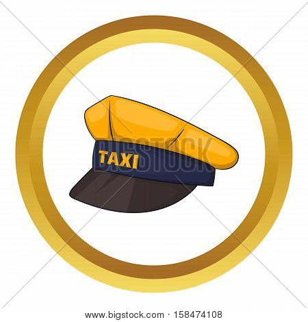 Cap taxi driver vector icon in golden circle, cartoon style isolated on white background