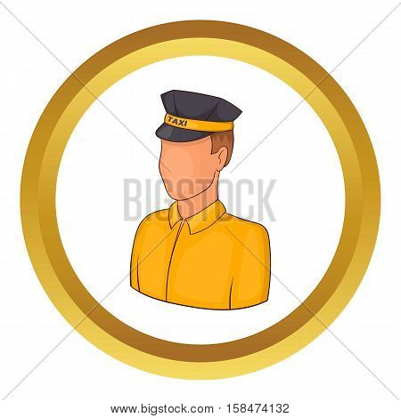 Taxi driver vector icon in golden circle, cartoon style isolated on white background