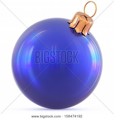 Christmas ball New Year's Eve decoration blue shiny bauble wintertime hanging adornment souvenir. Traditional ornament happy winter holidays Happy Merry Xmas symbol blank polished. 3d illustration