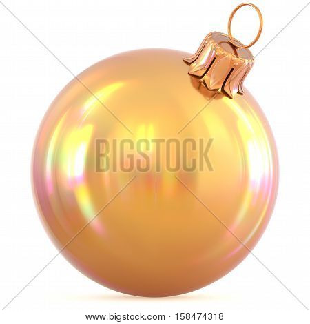 Golden Christmas ball New Year's Eve decoration yellow gold shiny bauble wintertime hanging adornment souvenir. Traditional ornament happy winter holidays Happy Merry Xmas symbol. 3d illustration
