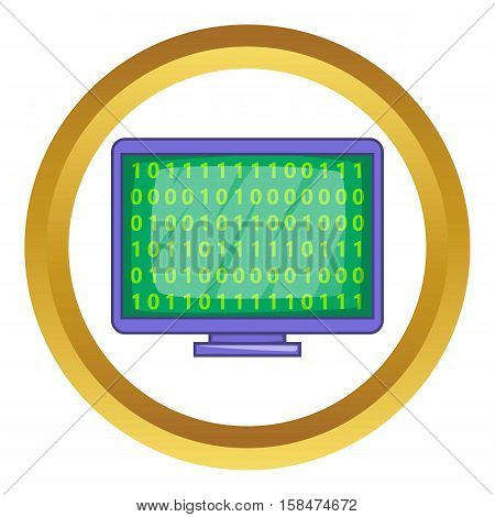 Binary code on screen vector icon in golden circle, cartoon style isolated on white background