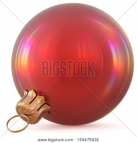 Christmas ball red New Year's Eve decoration bauble wintertime hanging adornment souvenir. Traditional ornament happy winter holidays Happy Merry Xmas symbol blank shiny classic. 3d illustration