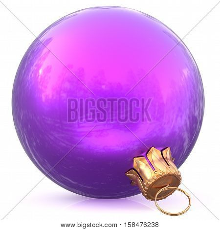 Christmas ball purple New Year's Eve decoration bauble wintertime hanging adornment souvenir. Traditional ornament happy winter holidays Happy Merry Xmas symbol blue blank shiny. 3d illustration