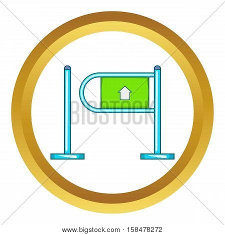 Fencing system vector icon in golden circle, cartoon style isolated on white background