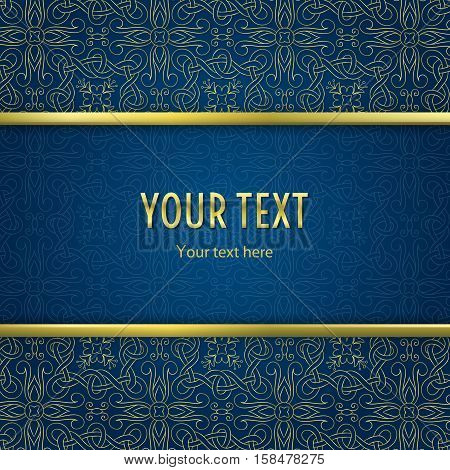 Vintage illustration with horizontal frame with gold border and gold abstract ornament on blue background