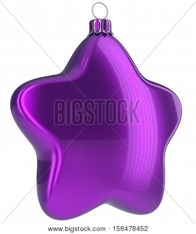 Christmas ball star shaped purple hanging decoration adornment New Year's Eve bauble blue. Happy Merry Xmas greeting card design element traditional wintertime holidays ornament blank. 3d illustration