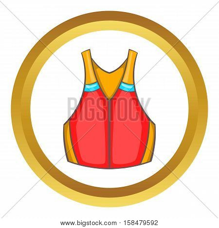 Life vest vector icon in golden circle, cartoon style isolated on white background
