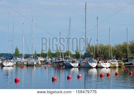 LAPPEENRANTA, FINLAND - AUGUST 21, 2016: August morning in the marina of Lappeenranta sity Finland. The tourist landmark