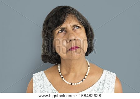 Mature Lady Frowning Studio Concept