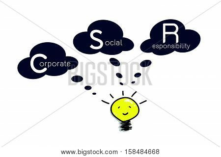.Business Concepts Cartoon of Glowing Yellow Electric Light Lulb Smiling As Inspiration Concept with CSR Abbreviation or Corporate Social Responsibility.