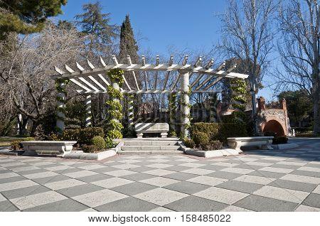 Pergola in Cecilio Rodriguez Gardens Retiro Park Madrid Spain